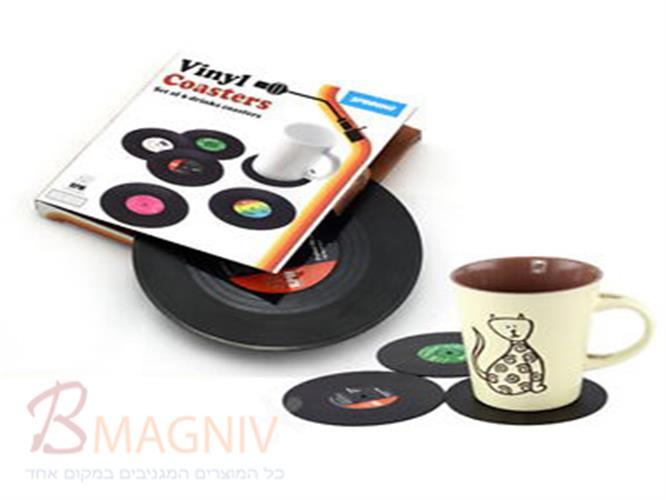 סט תחתיות רטרו בעיצוב תקליטים וניל
