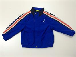 מעיל בצבע כחול פס לבן וכתום בשרוול של המותג נאוטיקה. מס' דגם: 684