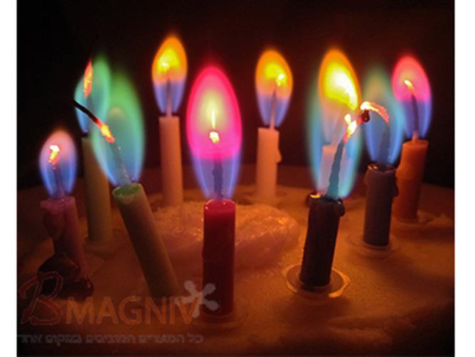 נרות יום הולדת עם להבה צבעונית